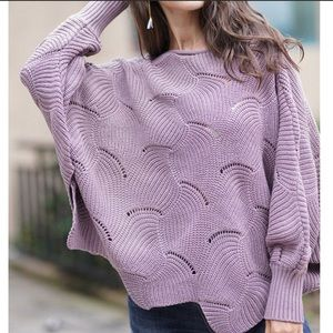 Sweaters - Ash Purple Knit Dolman Sleeve Sweater